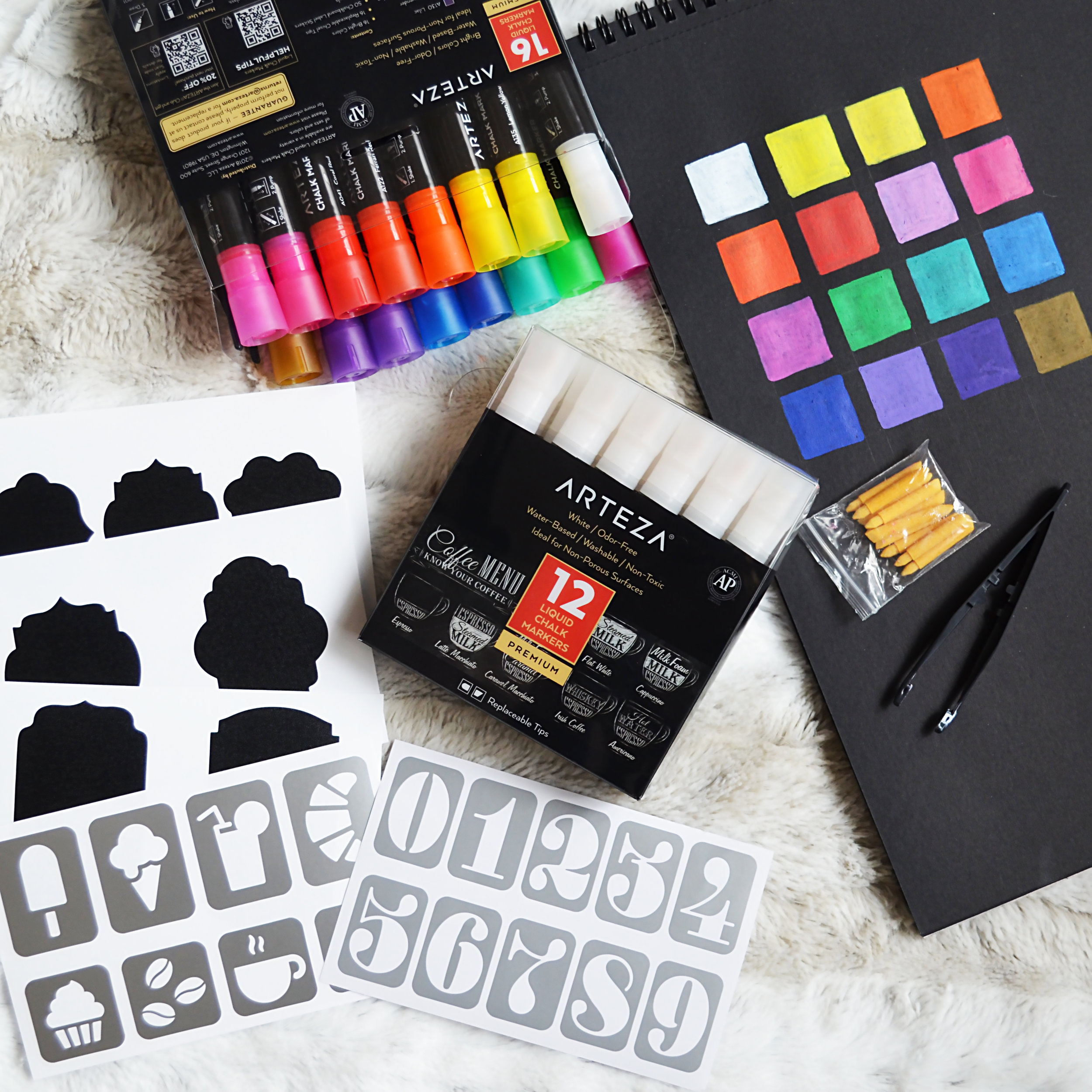 If you've seen my recent posts on Instagram, you'll know that I've also raved about these new Arteza chalk markers. I have both the brights and white sets and I really do love them. The colors are more unique than what you'd usually find with chalk markers and they're so varied. I also love that the colored set comes with chalk labels and stencils. The big difference between these markers and the others is that the tips are not dual sided, so they come with a little bag of chisel tips and tweezers. It's only a little bit of an inconvenience but at the same time if you happen to ruin a marker tip somehow, you'll always have an extra clean one.