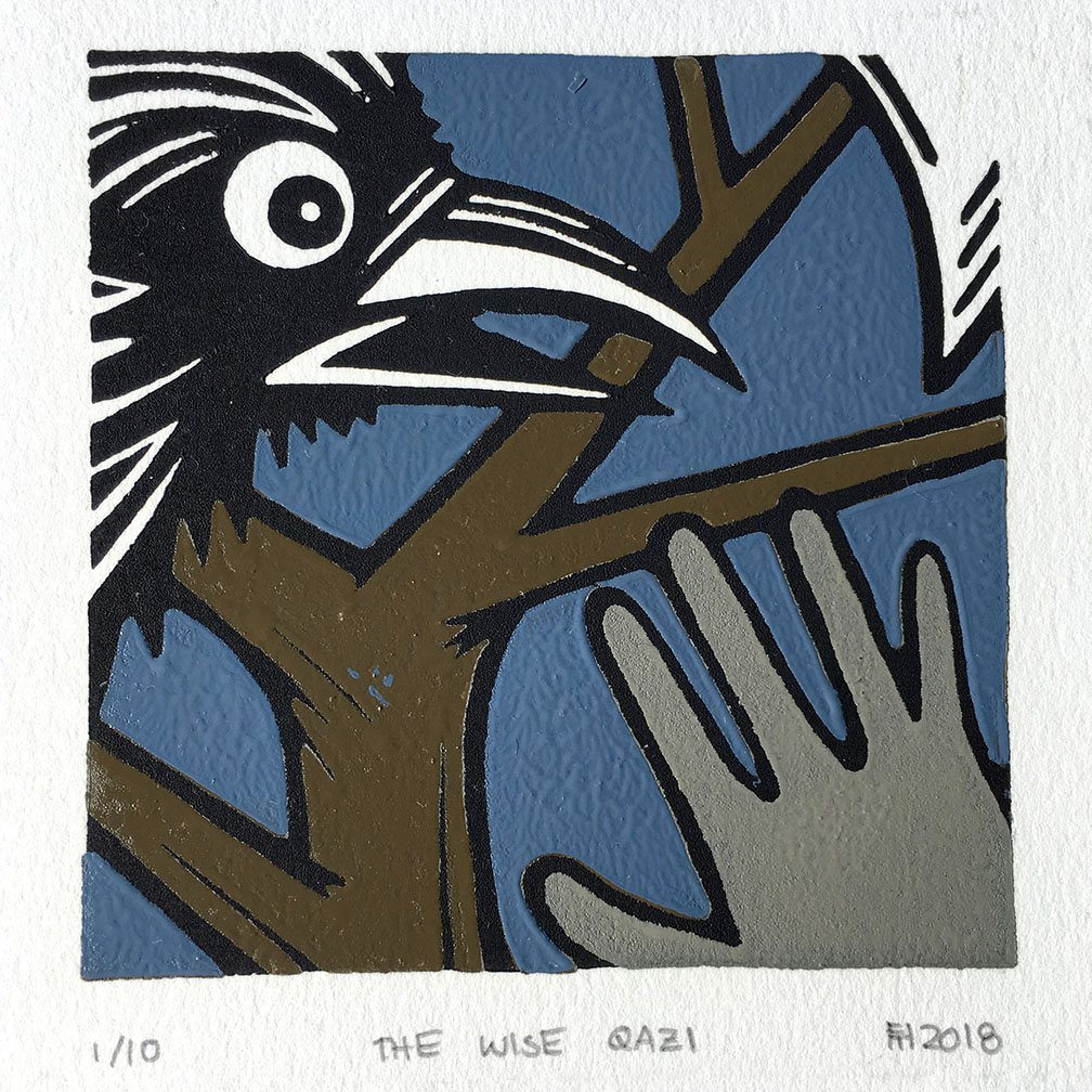 """The Wise Qazi""  reduction linocut, 4 x 4 inches (2018)"