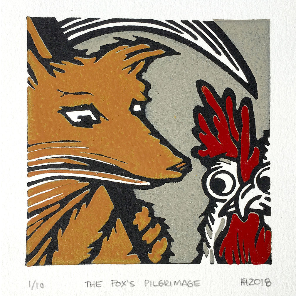 """The Fox's Pilgrimage""  reduction linocut, 4 x 4 inches (2018)"