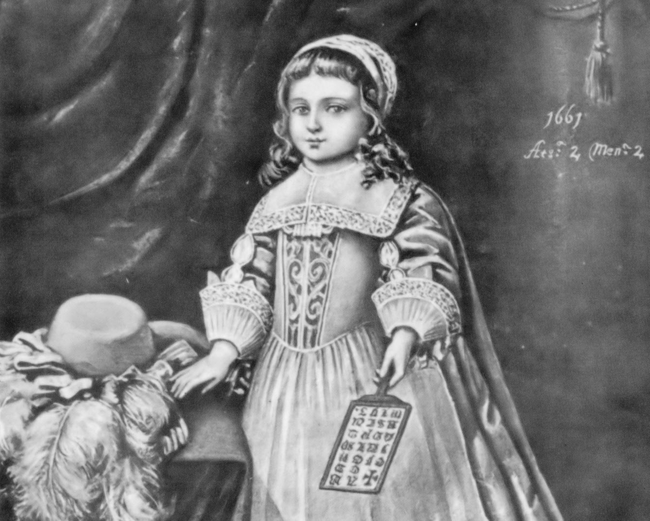 Miss Champion holding a hornbook, 1661. From Tuer's  History of the Horn-Book