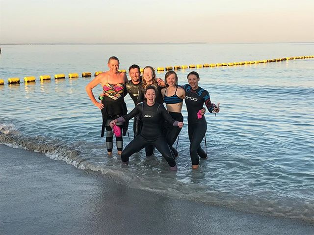 What a stunning morning for an open water race specific set! 🏊 Open Water Sessions are quick becoming the athletes favourite session of the week in the lead up to their big races! . . . #OWS #triathlon #perthisok #sharkbait #swimming #ironman #training #happy #fit #active #klphysiohealthfitness