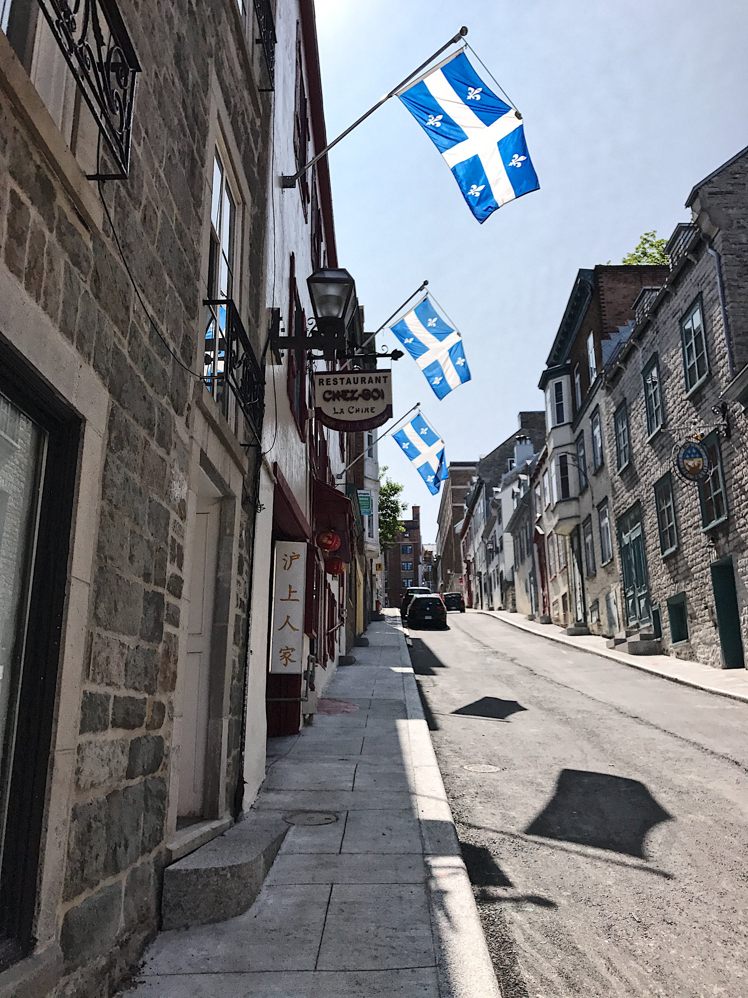 Quebec flags all over the city