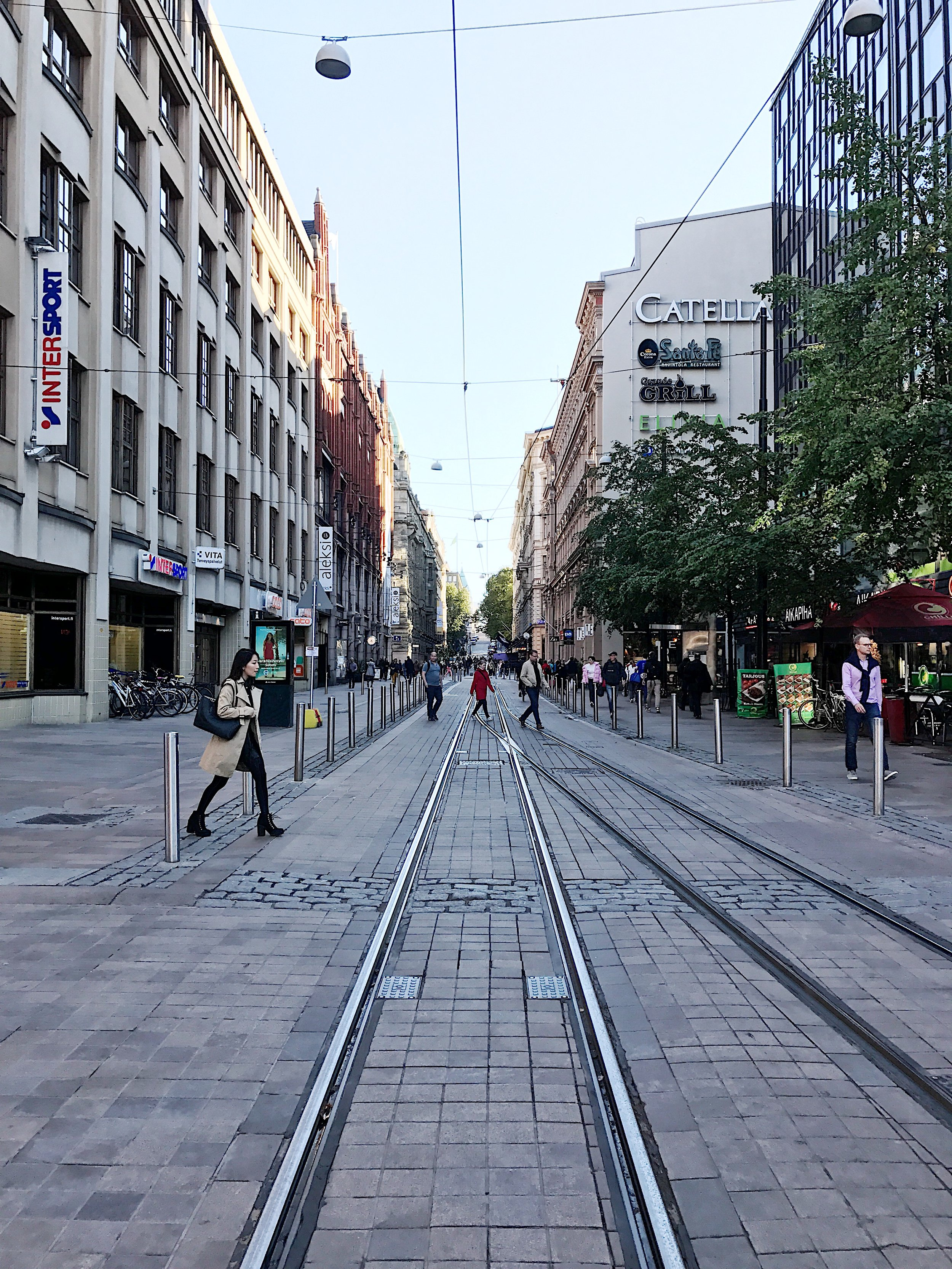 The tram runs everywhere in the city.