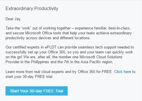 generic unsolicited email about extraordinary productivity