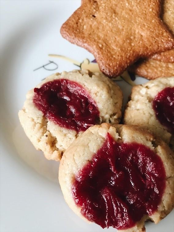 Cranberry jam thumbprint cookies and gingersnaps