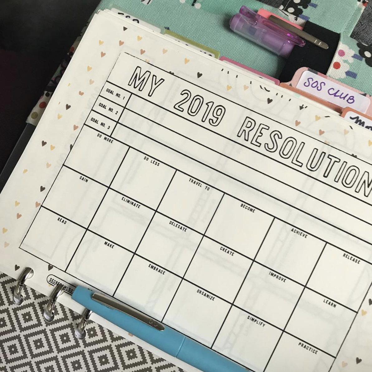 2019 Resolutions Printable