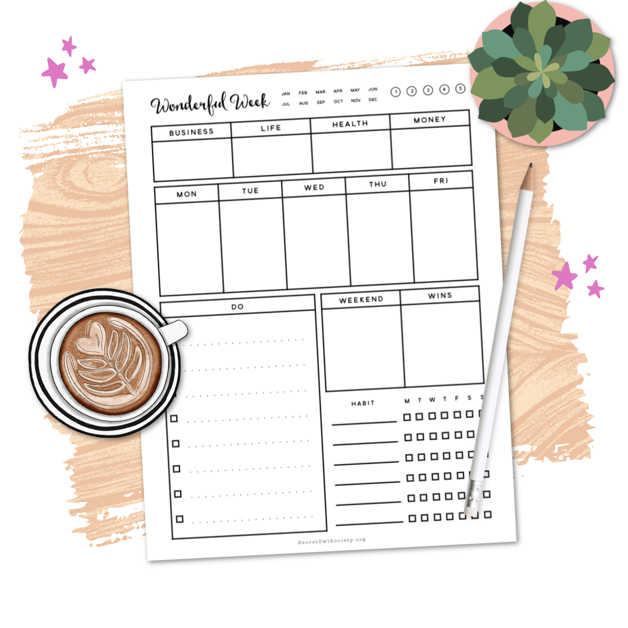 MY WONDERFUL WEEK PRINTABLE - Grab this free printable and get your habits, schedule, goals, and to-do's for the week all written down in one place!