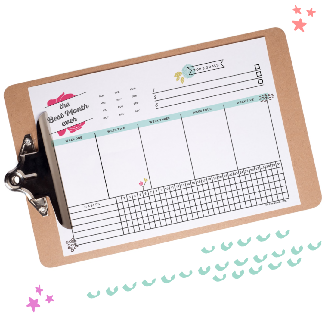 MY BEST MONTH EVER PRINTABLE - Identify your top 3 goals, break down your focuses for each week of the month, and track your habits all on one epic page.
