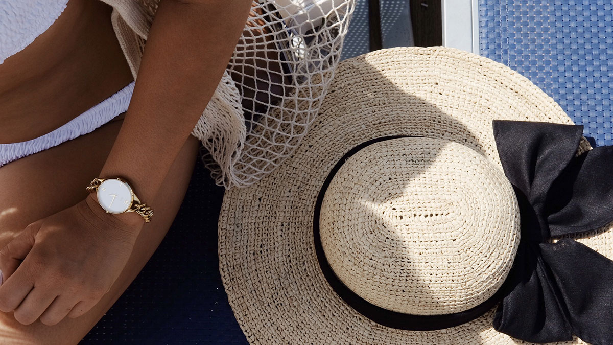 Tenth Street Hat, MVMT watch Rayban sunglasses, Forever 21 bikini Net bag accessory from Amazon.com  Photography by Reginald Guinto