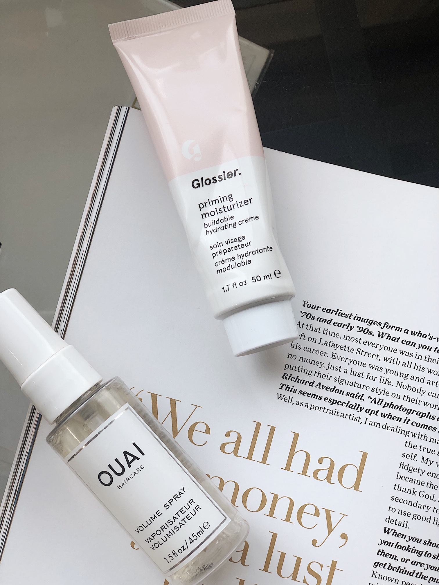 Glossier  priming moisturizer,  Ouai  volume hair spray