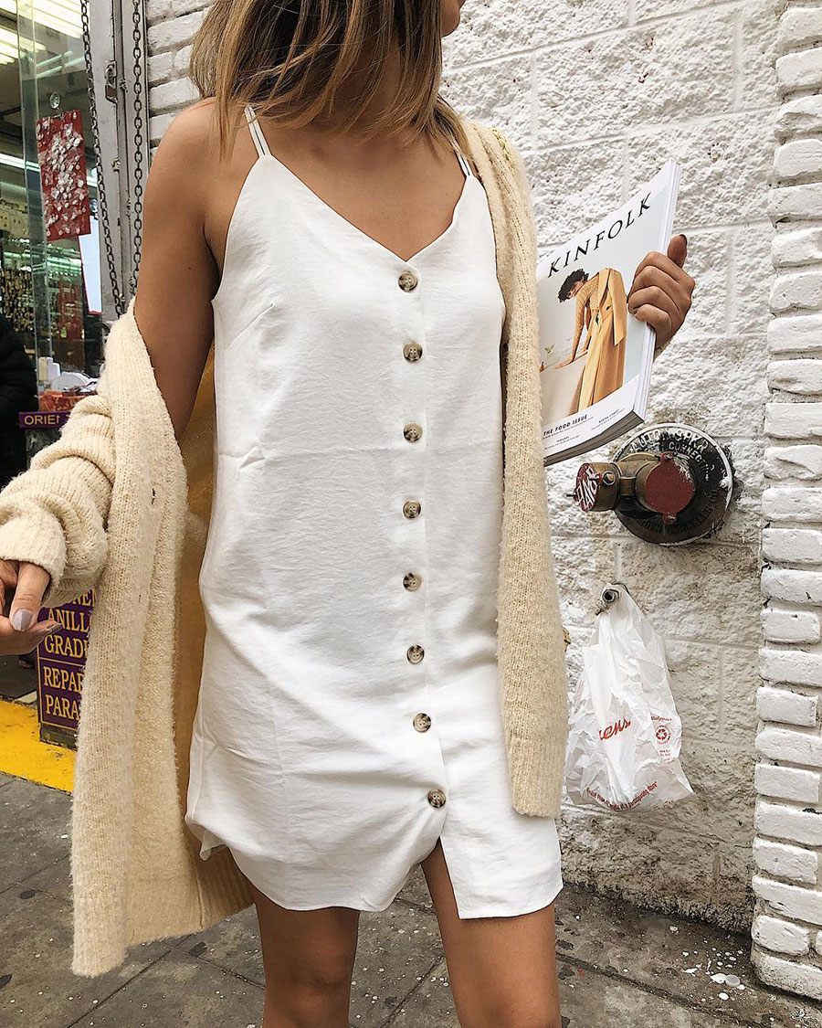 Naked Zebra white slip dress, Urban Outfitters beige cardigan, FILA white tennis shoes, Urban Outfitters straw bag