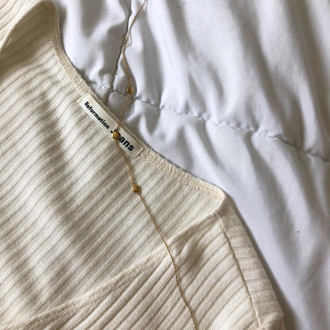Reformation  top,  Mejuri  necklace