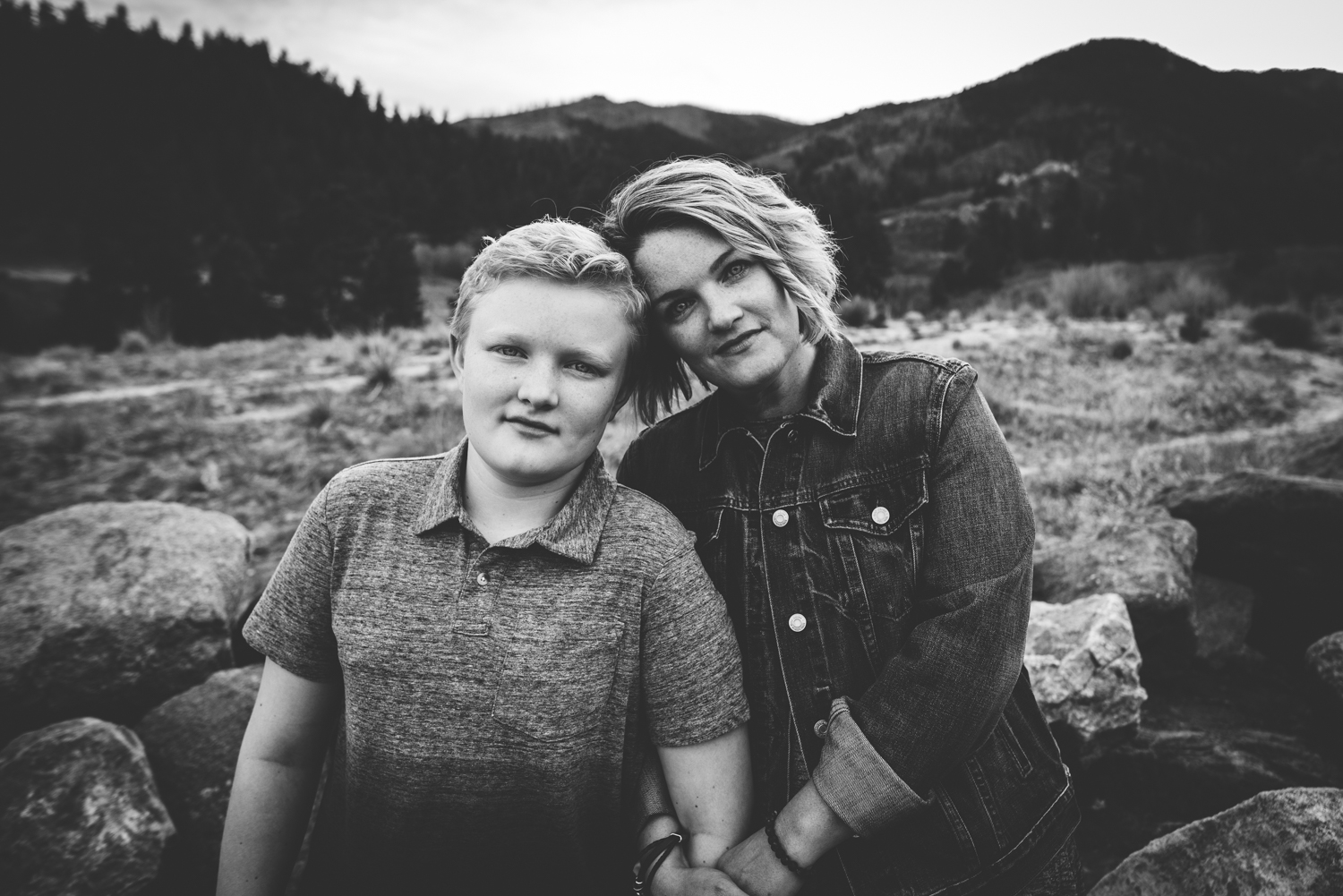 Mother and son love on each other during a Mother's Day session in Colorado Springs.