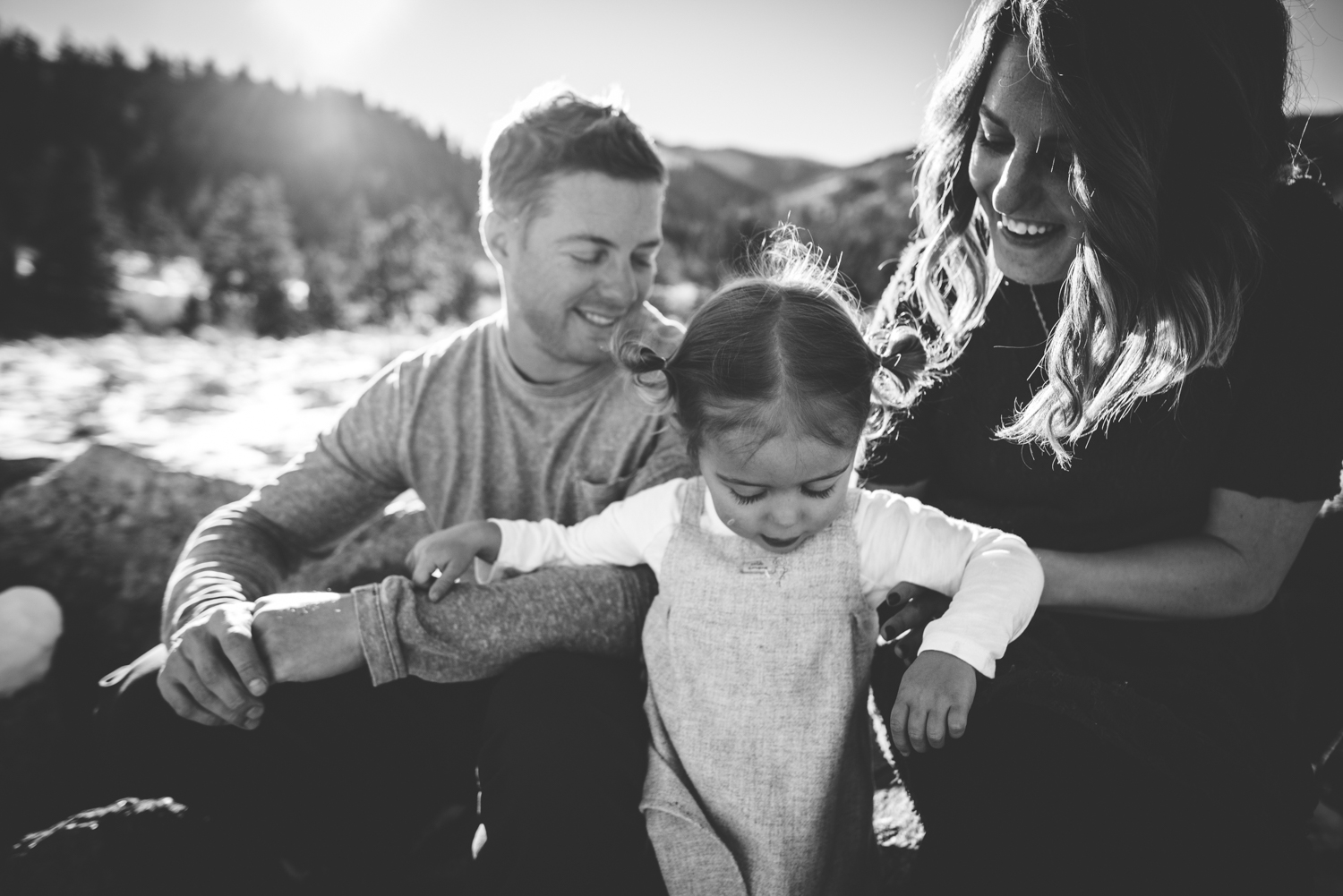 Military family has fun during their photography session in Colorado Springs mountains.