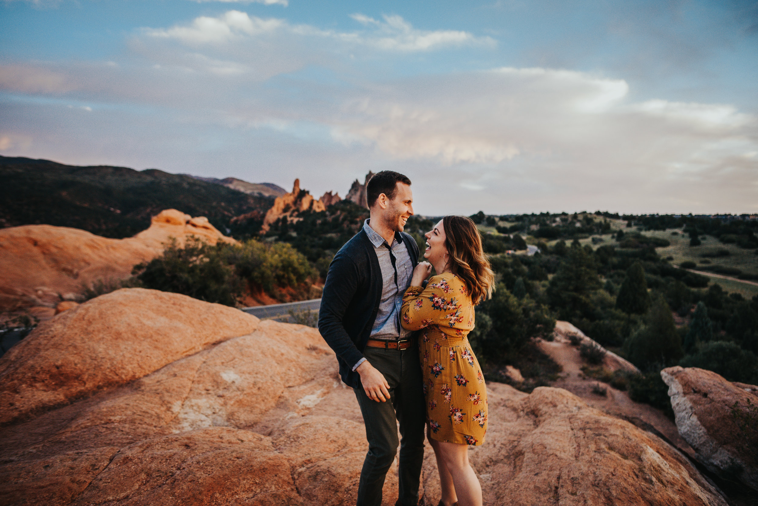 Couple has engagement photography session in Garden of the Gods park in Colorado Springs with Wild Prairie Photography.