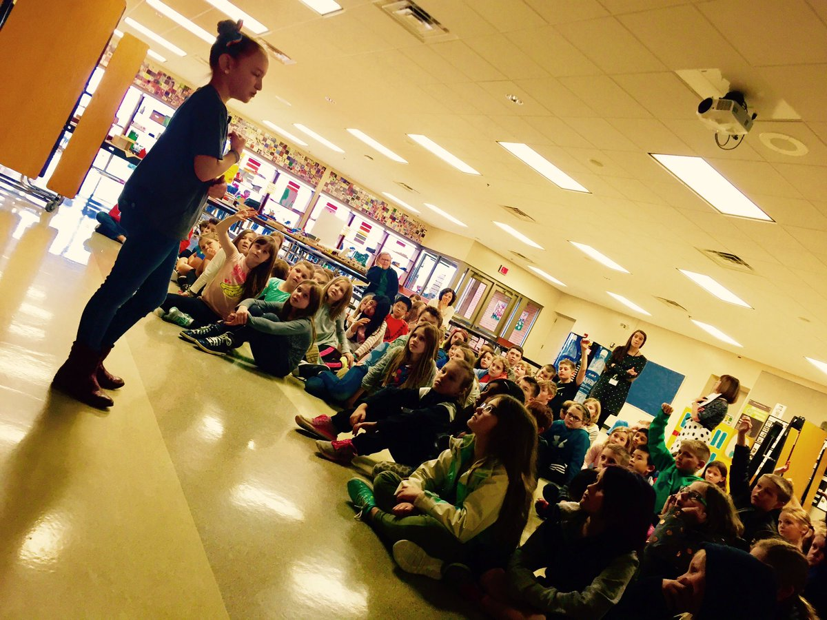 Liv talks with 3rd graders at Eli Pinney school in Dublin, Ohio
