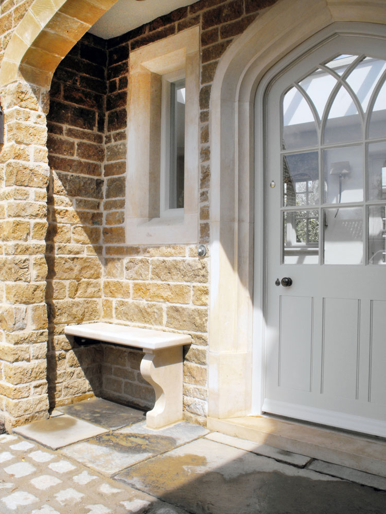Stone features and bespoke timber door