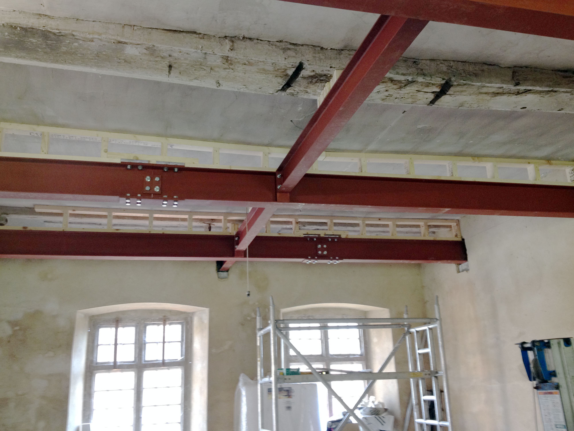 Structural steel support to listed building