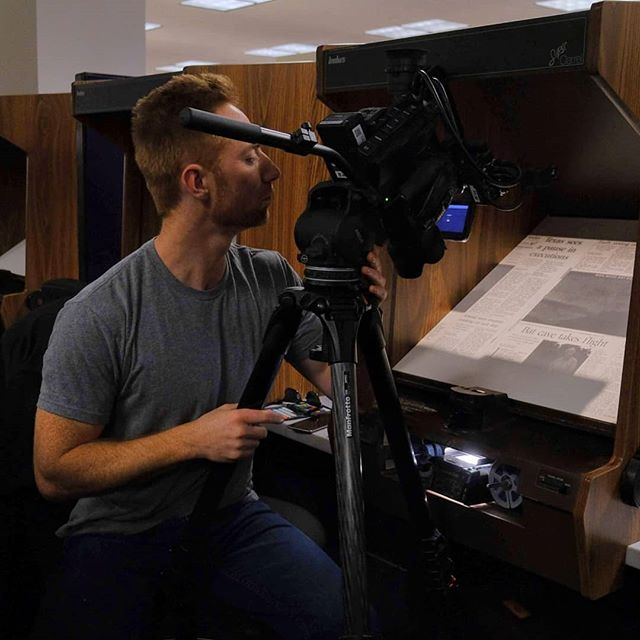 At the San Antonio library shooting old newspaper articles on microfilm. Dox short doc on Bamberger's bat cave coming soon! #documentary #film #bats #cave #originalart #productioncompany #austin #texas #environmentalist
