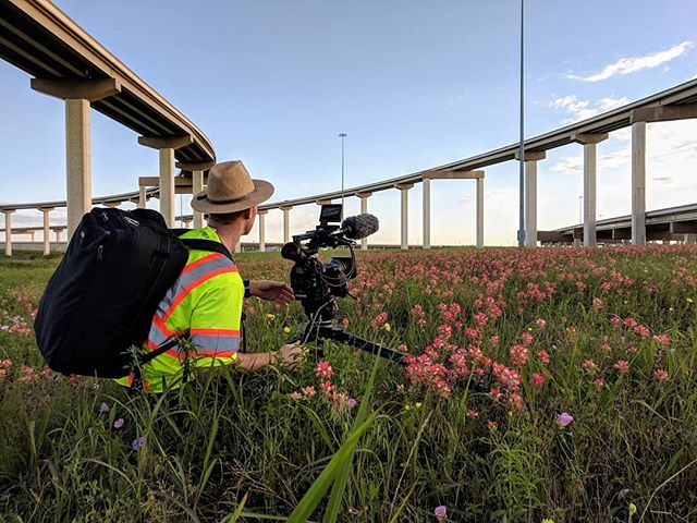 Scoping out the next shot. State Highway 130. #productionlife #canonc300mk2 #texas #wildflowers