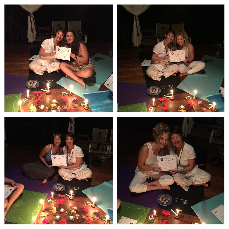 Laurel, Johanna, Sukie & Terry graduating their YTT with teacher Corinne Aulakh