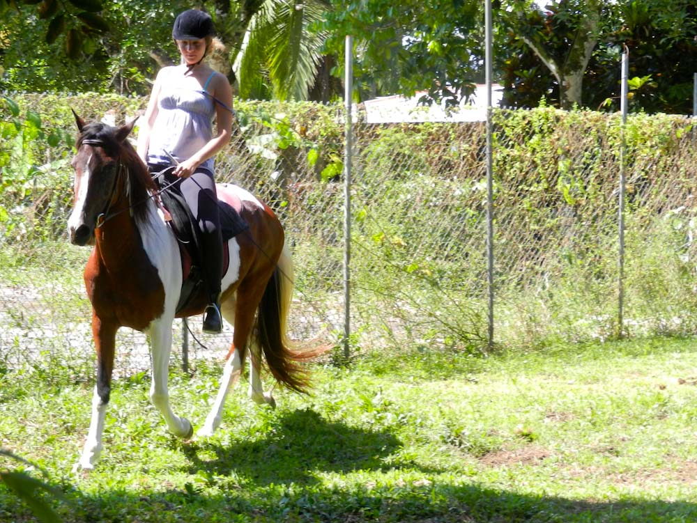 Evie with her mare Anya, a Paso Costaricense gaited horse.