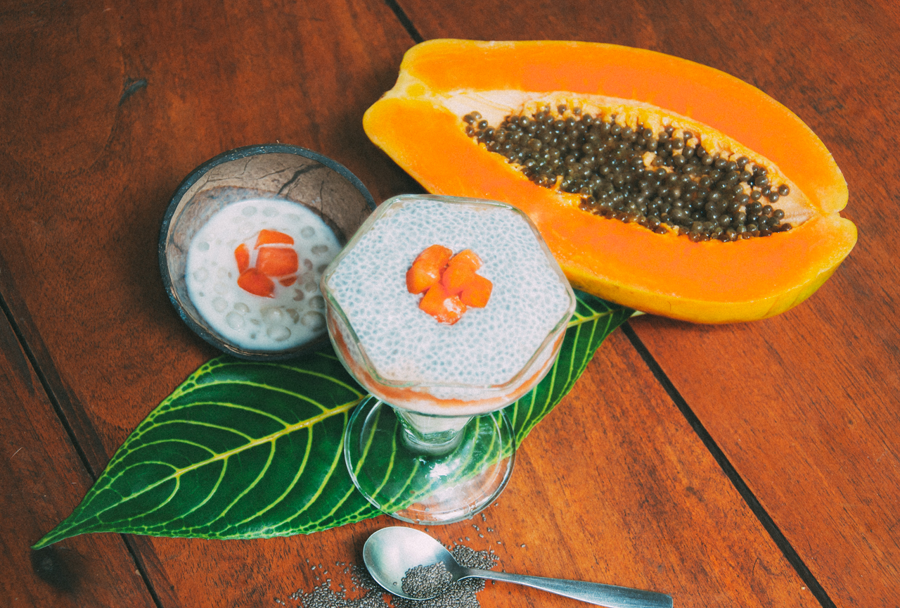 Chia Coconut Papaya Pudding