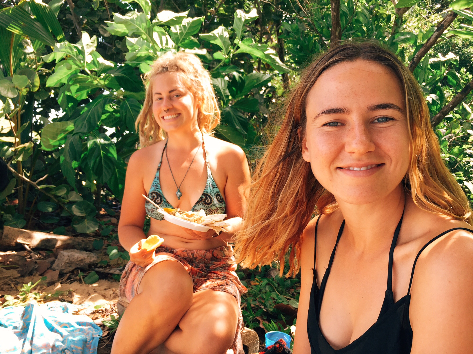 Picnic under the coconut trees with Johanna and Australian volunteer, Bonnie.