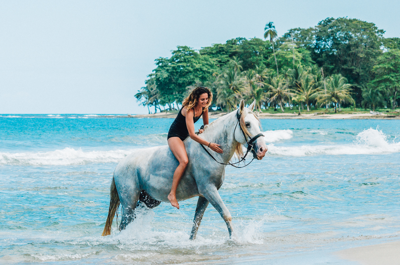 Bareback riding in Punta Cocles.