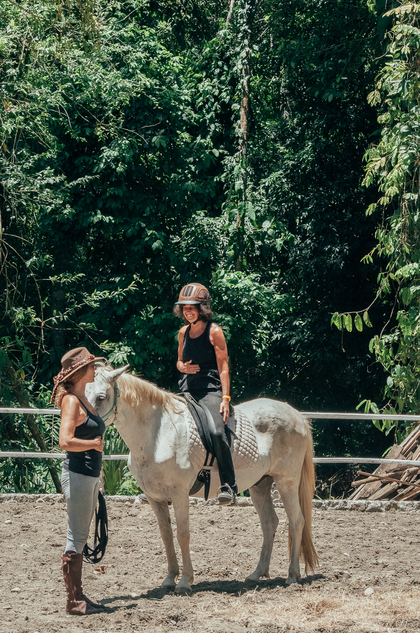 Riding class before the trek, focusing on breath and core.