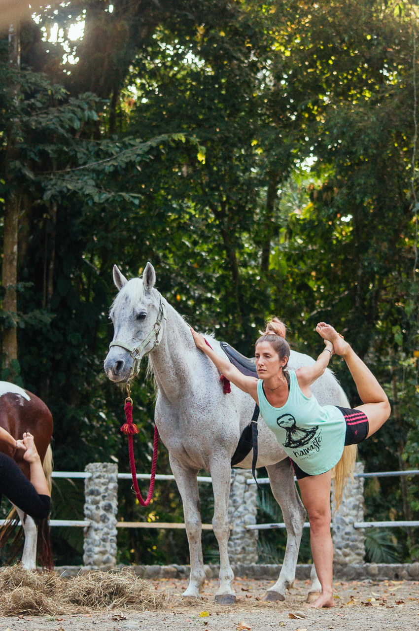 Dancer Pose, Yoga with Horses class.