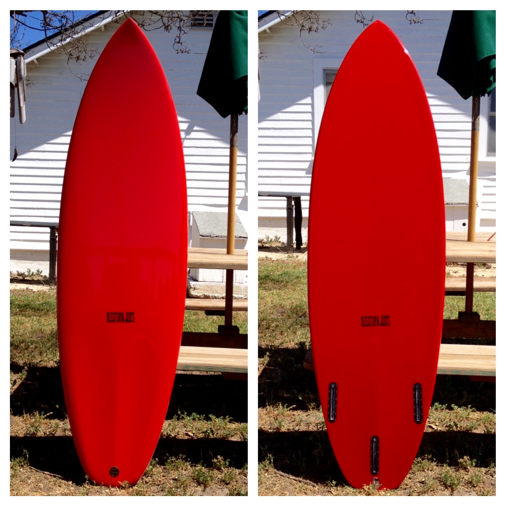 """5'6"""" X 19"""" X 2.175"""" MicroStubby for Nate Tyler. Note scooped footwells on deck tail."""