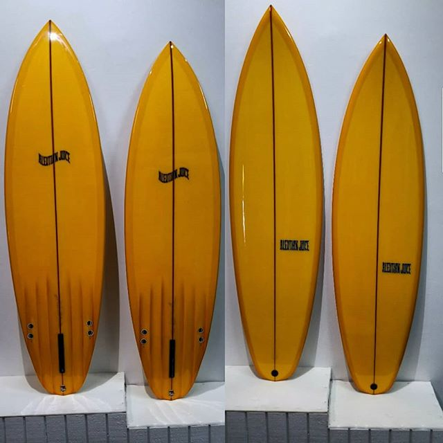 Coupla' pumpkin spice shooters from @watermansguild @surfboardsbyclutch @@greggae13  Available at @thecraft_fiberglass_supply in San Luis Obispo, CA