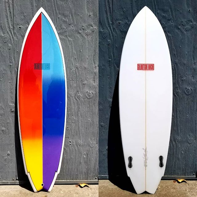 "6'0.5"" twin fin for Randy Adler of @moondoggiesbeachclub  An homage to the incomparable @markrichardssurfboards  Airbrushed and glassed by @izzyduzit_ in San Luis Obispo, CA 14.0"" N X 20.0"" W X 15.0"" T X 2.7"" Thickness; 4.25 Nose Rocker X 2.25"" Tail Rocker; fins @ 9.75"" up @usblanks 65A NR -1/2"" N"
