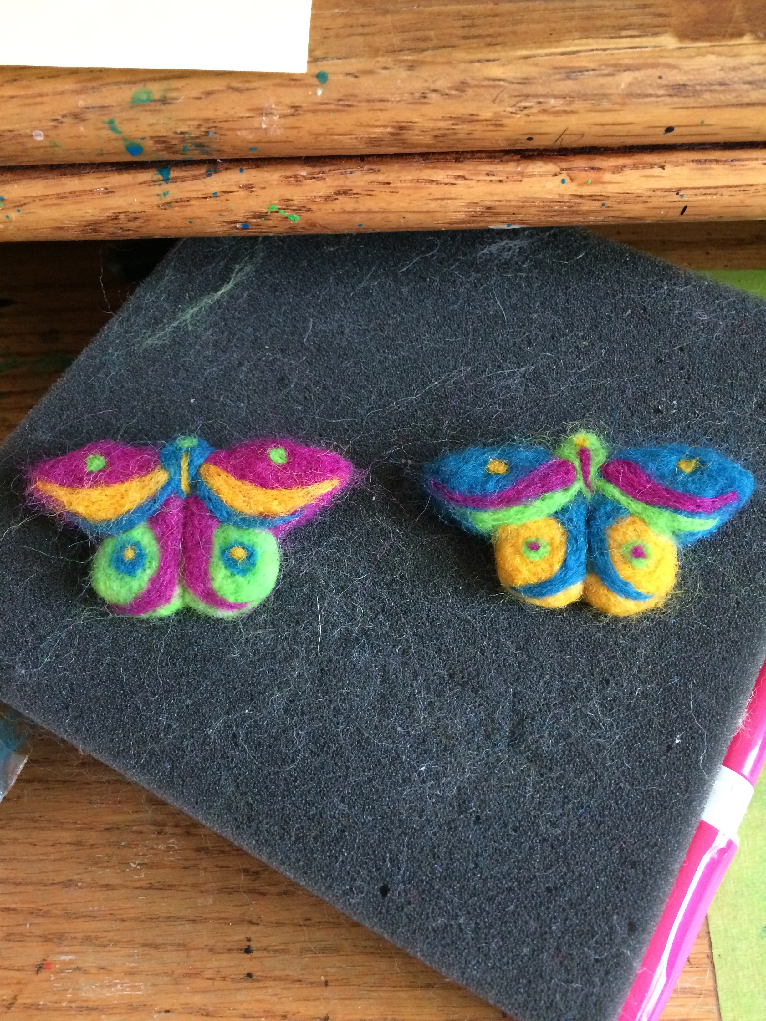 Needle felted collar pins.
