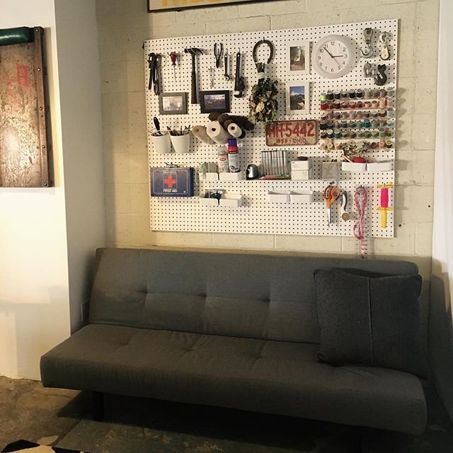 DIY eclectic craft supply art wall -  using a peg board and different size containers. Perfect for studio, kids room, office, family room, you name it!!!! #creativity #diy #diyhome #diyinterior #interior #interiors #interiordecor #interiordesign #moderndecor #art #artwall #artsandcrafts #style #studio #kidsroom #familyroom #office #handmade #homedesign #instadesign #instastyle #instainteriors #interiorstylist #revivaldesign #portlandinteriordesign #portland