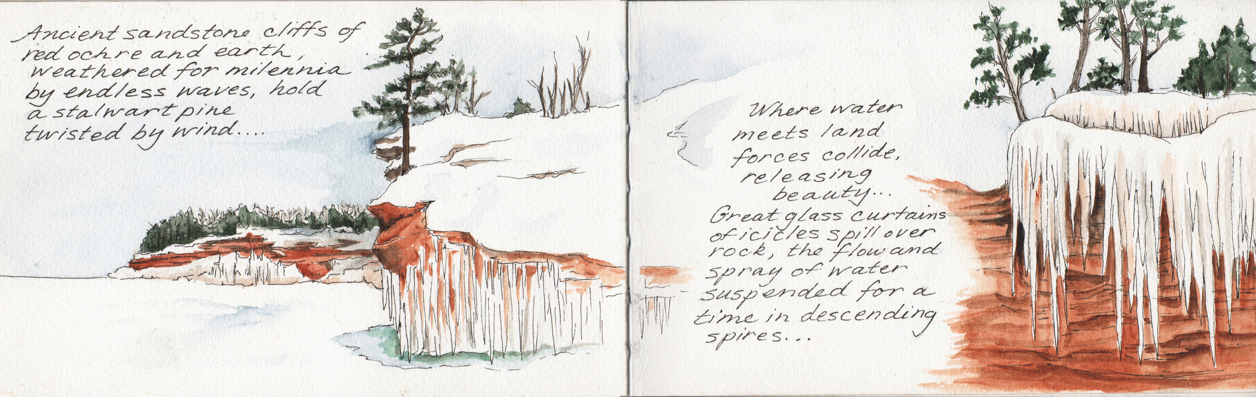 Ice Caves, an illustrated nature journal entry from February 2014
