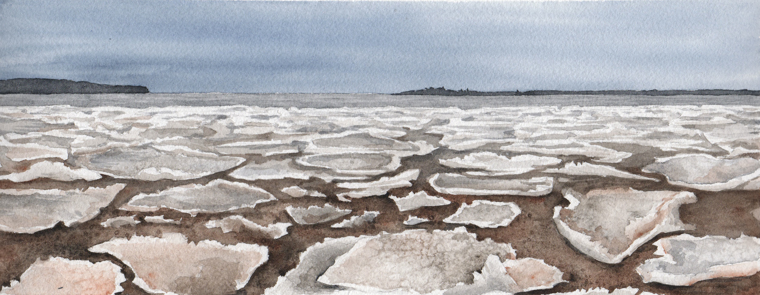 Unlocking, Watercolor, 5x12 inches.  Ice at the mouth of the Sioux River, Madeline and Long Island on the horizon.