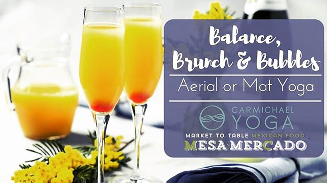 Balance, Brunch & Bubbles! This Saturday, May 4th! 10am Yoga class at @carmichaelyoga, then 11:30am brunch & mimosa at @mesamercado ! Choose between vinyasa (mat) yoga with @dowsondesign or aerial yoga with @iamvictoriaerin ✨ Pre-registration and pre-payment required via Mesa Mercado's website: http://mesamercado.com/events/balance-brunch-and-bubbles/✨ Cost:$30 for mat yoga, brunch and mimosa! $40 for aerial yoga, brunch and mimosa! Maximum of 10 signups for aerial yoga. (Gratuity not included.)