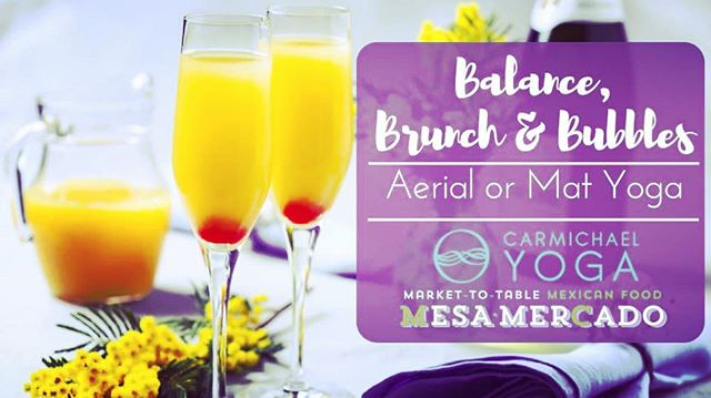 Saturday, June 1st! Join us for vinyasa yoga or aerial yoga at 10am, then brunch and mimosa at 11:30am across the street at @mesamercado ... ✨Vinyasa will be taught by a special guest teacher, Amanda Johnson! @mandiijean ... ✨Aerial yoga will be taught by our very own Cecilia Sandoval! @ovalsandyoga ... Pre-registration and pre-payment required at Mesa Mercado's website: http://mesamercado.com/events/balance-brunch-and-bubbles/ ... $30 for vinyasa, brunch & mimosa $40 for aerial yoga, brunch & mimosa (10 students max for aerial yoga) ... Gratuity not included. Fun & good times unlimited.