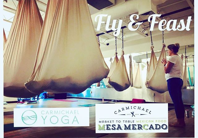 Fly & Feast! Sunday, June 30th. Join Summer Ward @seasonsofsummer for Aerial Yoga at 4pm the dinner across the street at @mesamercado at 6pm. $40 for yoga class and dinner. Gratuity not included. 10 spots only! Pre-register at http://mesamercado.com/fly-feast/