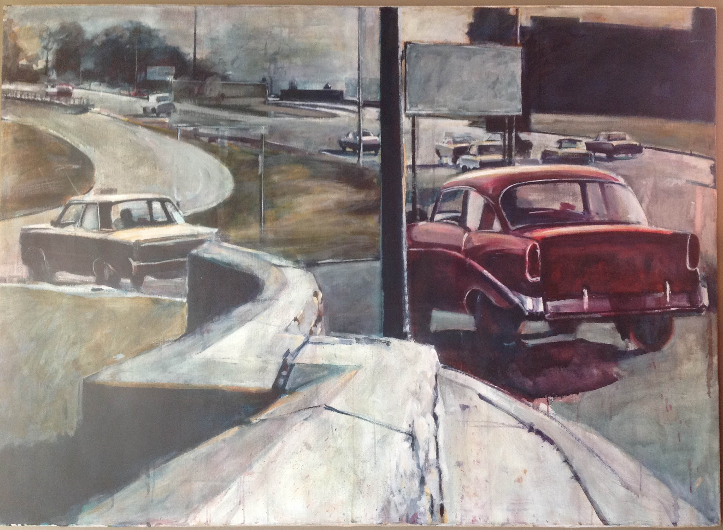 """Two Cars on the Freeway, stained painting/acrylic on canvas, 47""""x 65"""" On Exhibit, John's Grille, Mukilteo, WA"""