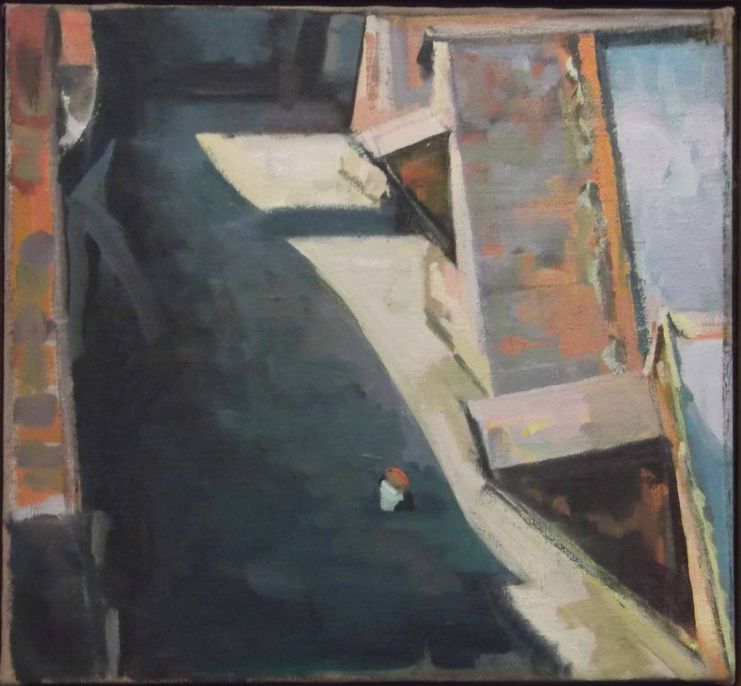 """New York Avenue Rooftop,acrylic on canvas,13 1/2"""" x 14 3/4"""", Private Collection"""