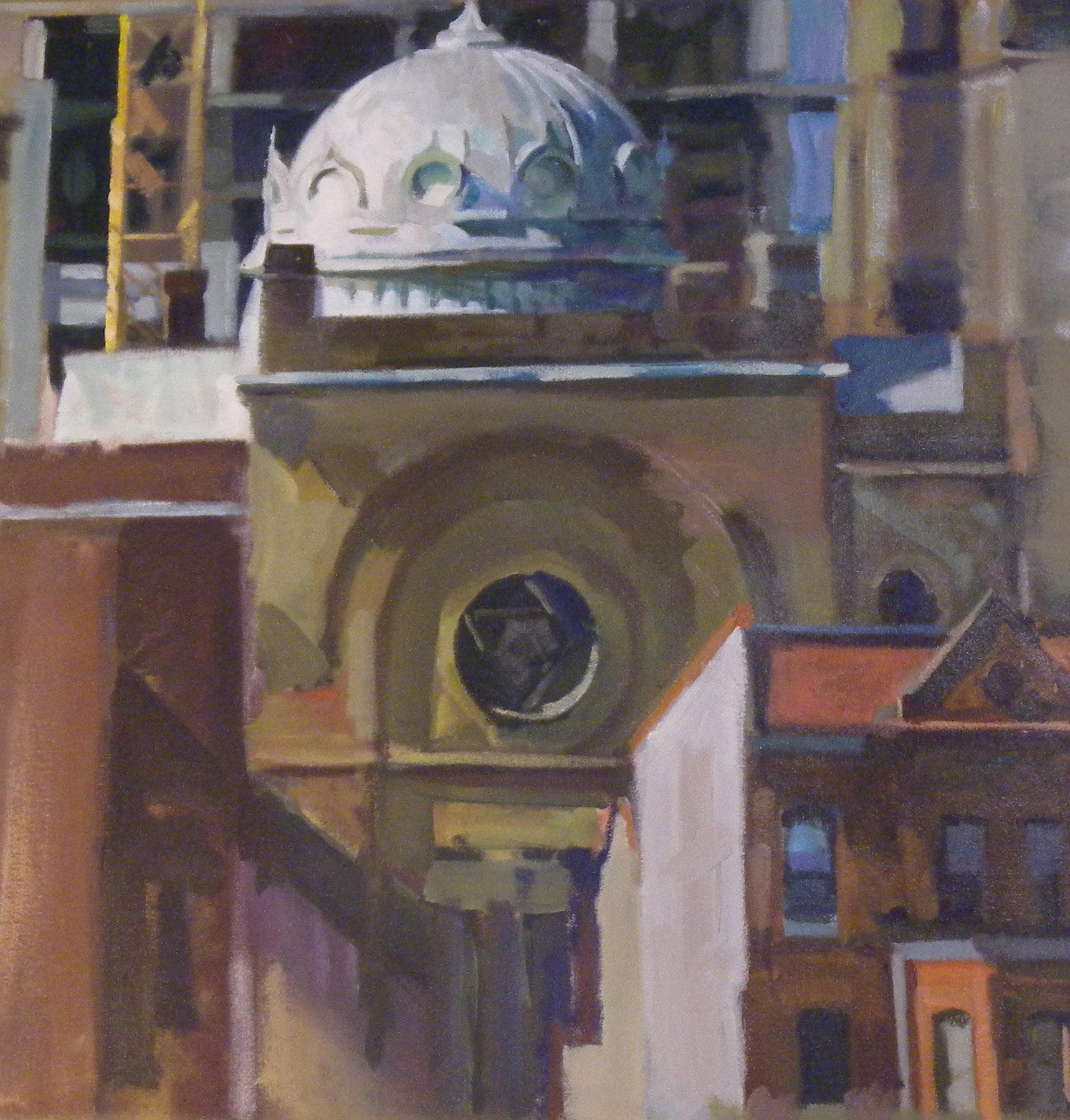 "Synagogue Dome,acrylic on canvas, 26 3/4"" x 25 5/8"" On Exhibit, AU Katzen Center, DC"