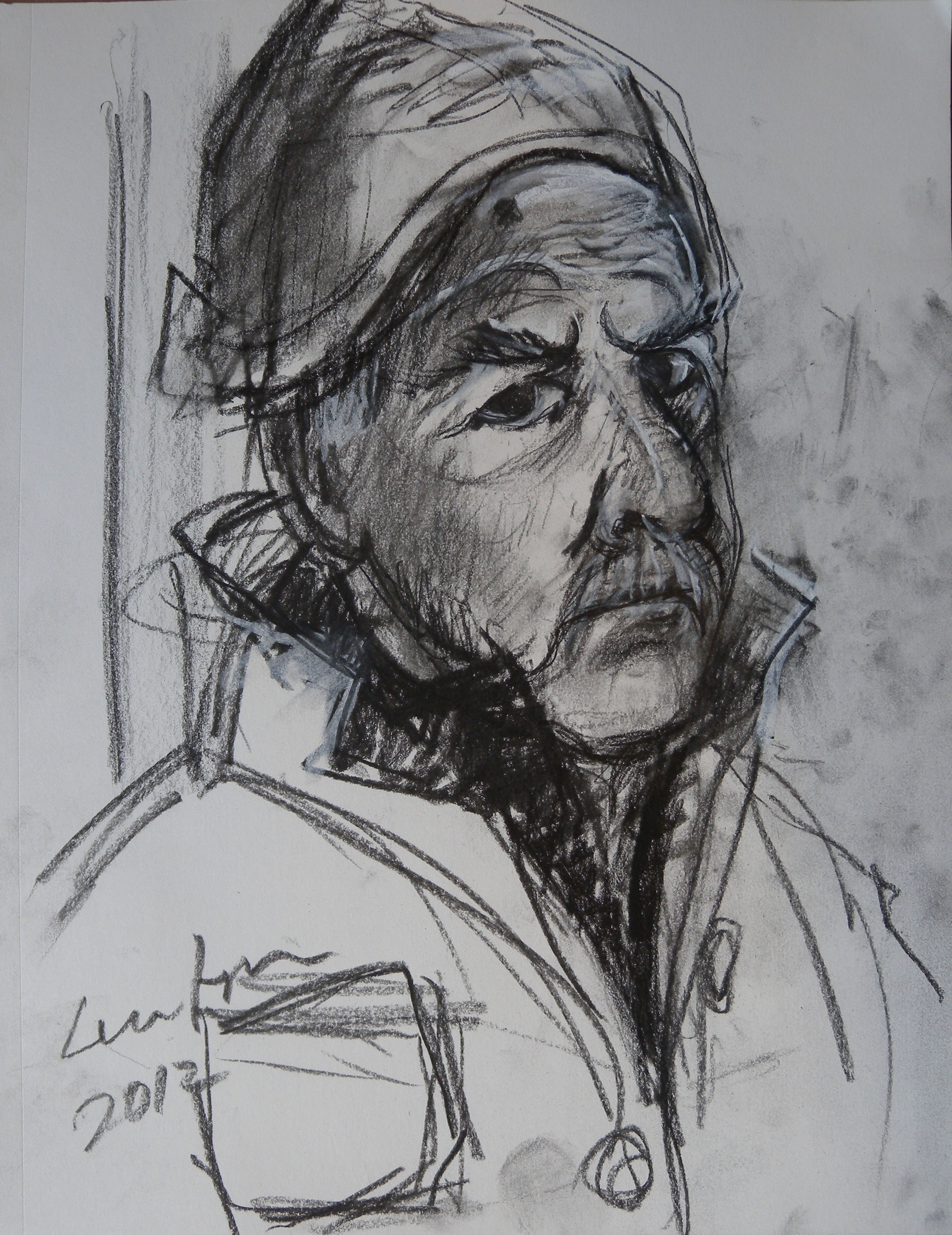 Val Lewton, self portrait in charcoal and pastel, 2012