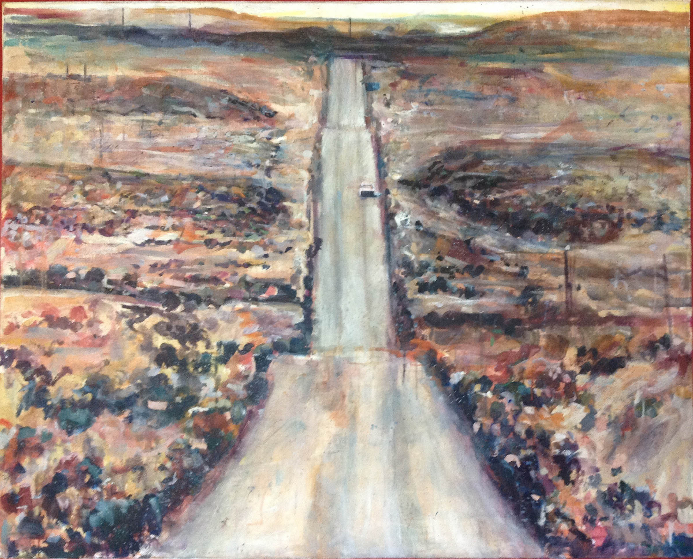 """Desert Road, stained painting/acrylic on canvas, 48""""x 60"""" On Exhibit, John's Grille, Mukilteo, WA"""