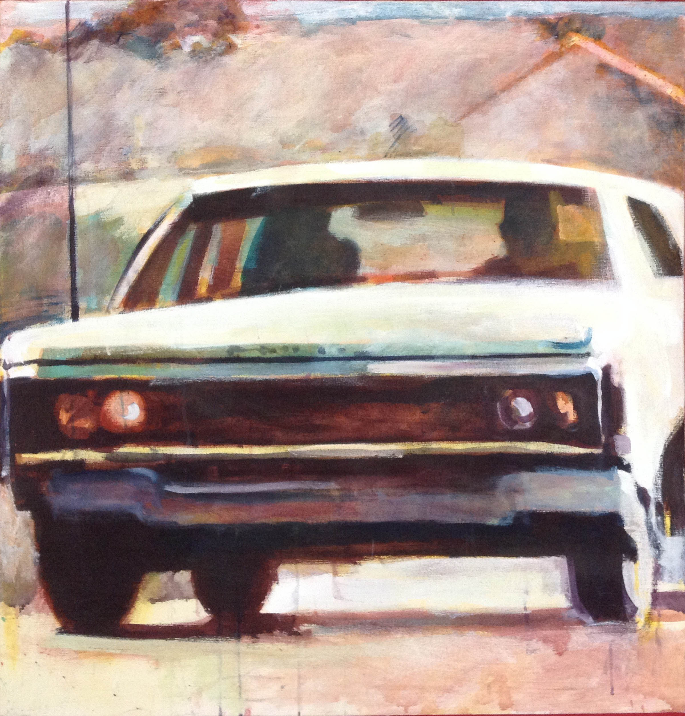 """Car Close-up Stain Painting, acrylic on canvas, 46 5/8"""" x 45"""" On Exhibit, John's Grille, Mukilteo, WA"""