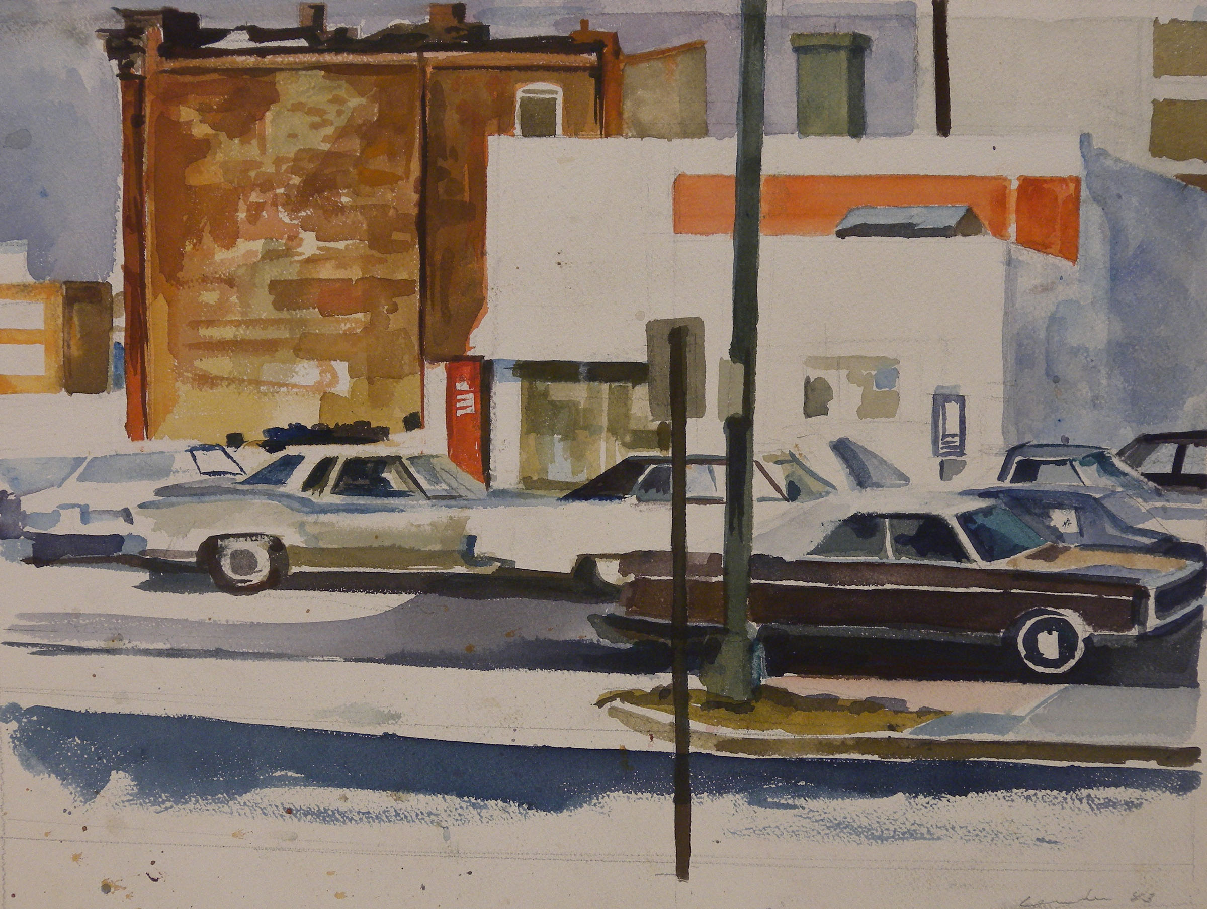 "Third Street Exxon, watercolor on paper, 12"" x 16"", 1983"