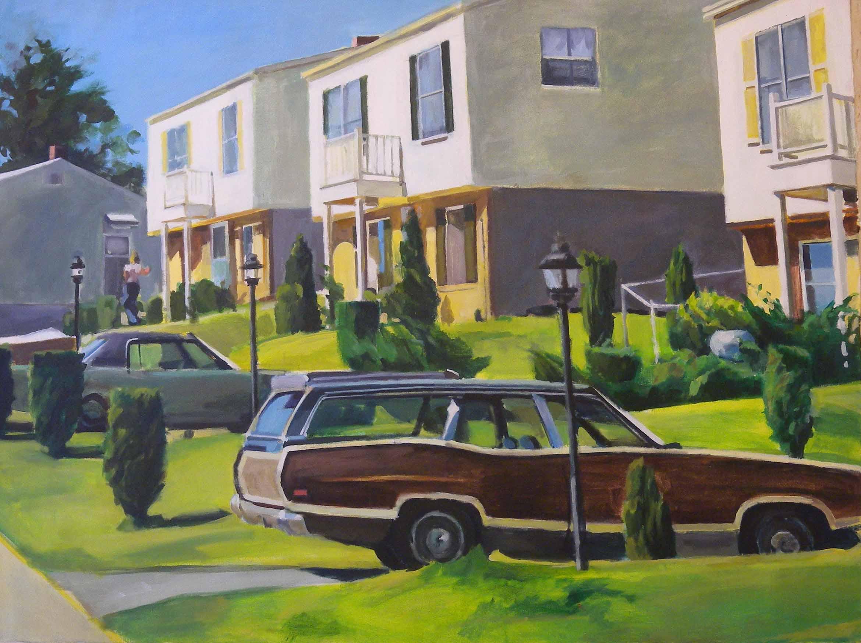 "Dale City Station Wagon, acrylic on canvas, 3' x 47 3/4"", 1974"