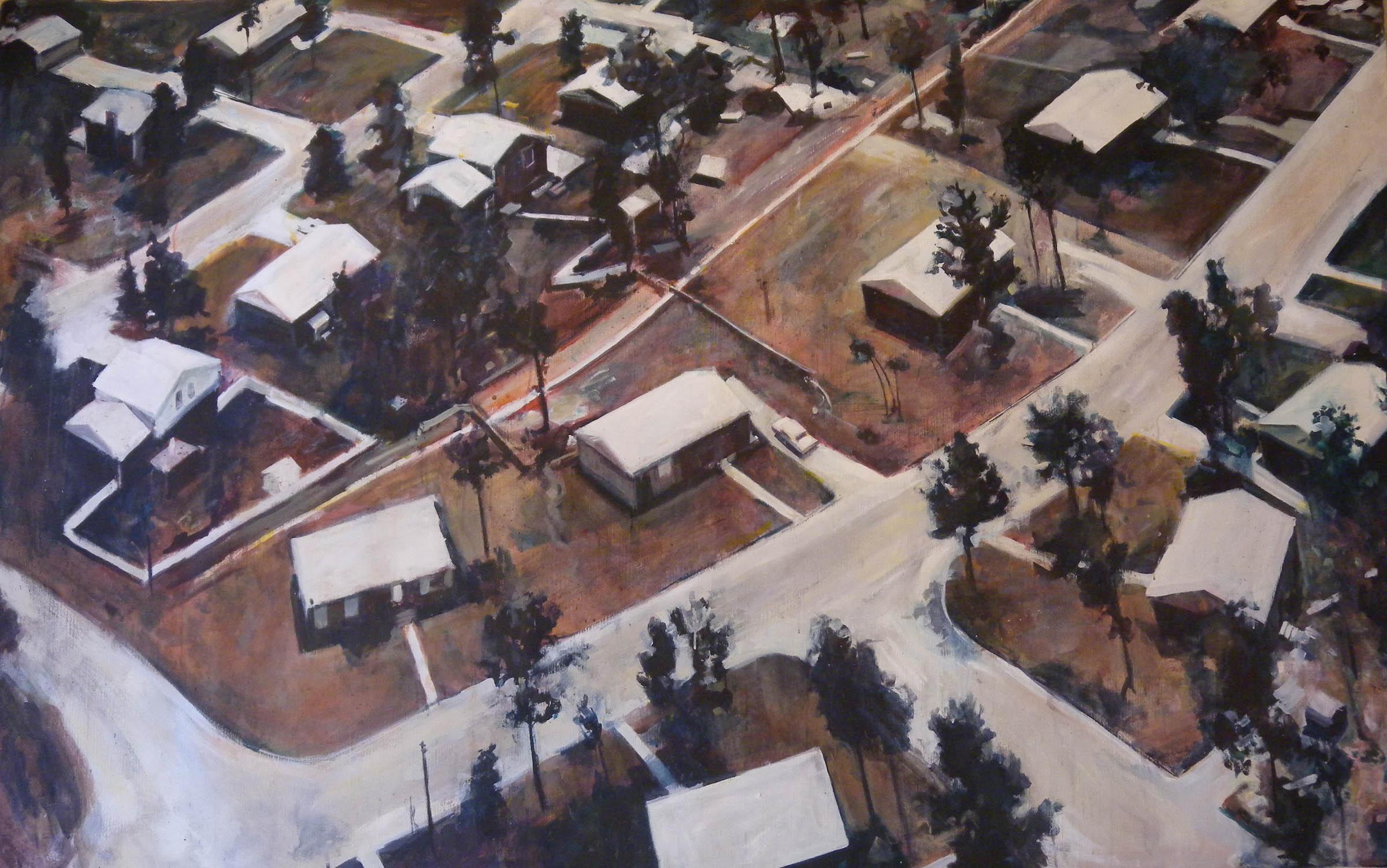 "Suburban Sprawl, acrylic on canvas, 5' x 8'3"", 1972"